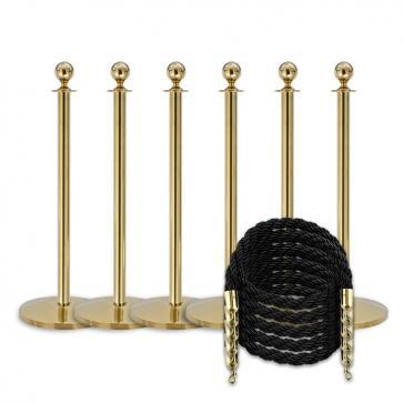 Pakket -Messing- 6 palen / 5 koorden (zwart)
