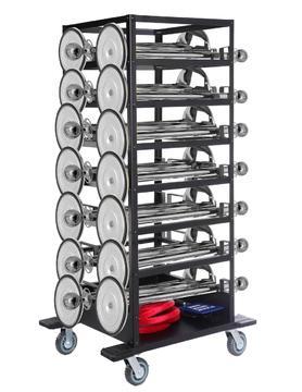 Pakket-Expo- 21 zilveren afzetpalen, 20 koorden op transportwagen