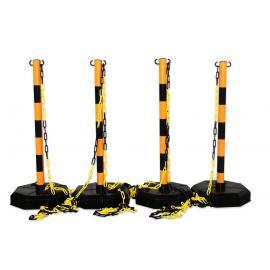 Pakket -Robuust-, 4 geel-zwarte afzetpalen met 25m ketting
