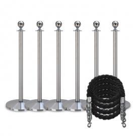 Pakket -Zilver- 6 palen / 4 koorden (zwart)