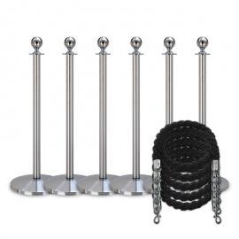 Pakket -Zilver- 6 palen / 5 koorden (zwart)